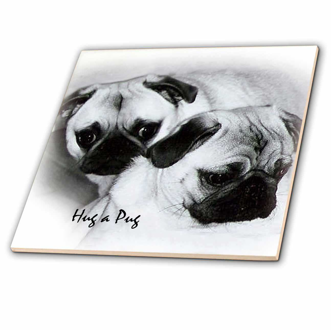 3dRose Hug a Pug Puppies - Ceramic Tile, 6-inch