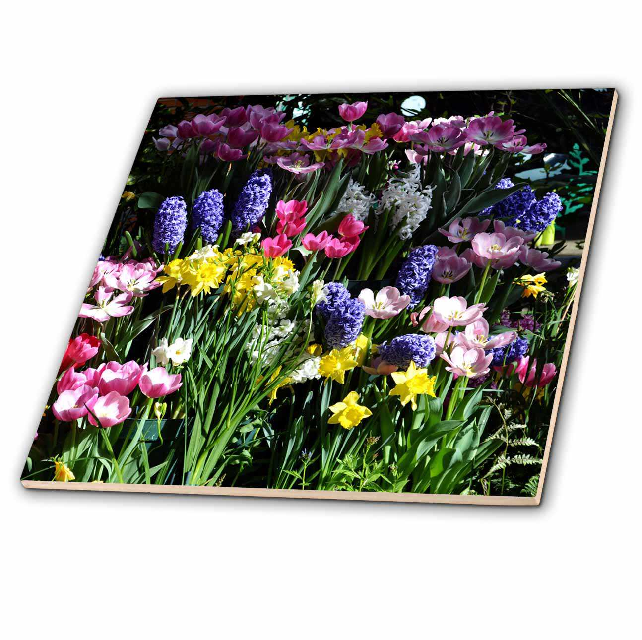 3dRose Wall of flowers - Ceramic Tile, 6-inch