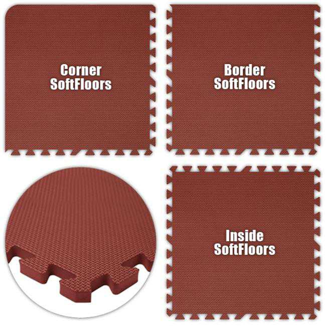 Alessco SFBY0840 SoftFloors -Burgundy -8 x 40 Set